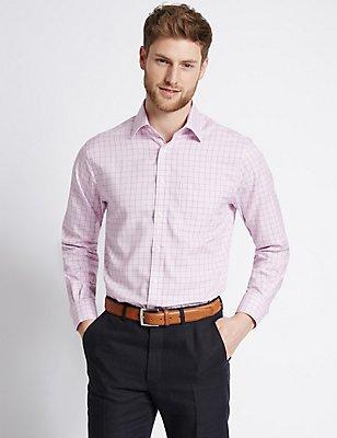 Pure Cotton Non-Iron Regular Fit Shirt, PINK MIX, catlanding