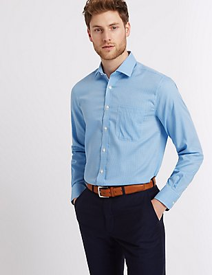 Pure Cotton Tailored Fit Shirt with Pocket, BLUE MIX, catlanding