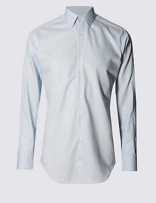 New Ergonomic Tailored fit Pure Cotton Shirt , BLUE, catlanding