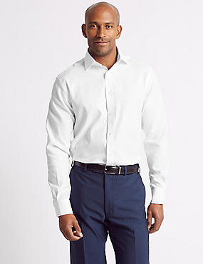 Cotton Blend Non-Iron Regular Fit Shirt, WHITE, catlanding
