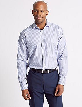 Cotton Blend Non-Iron Regular Fit Shirt, BLUE MIX, catlanding