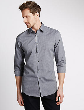 Pure Cotton Slim Fit Textured Dobby Shirt