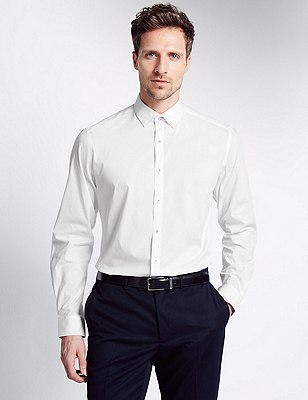 Cotton Rich Tailored Fit Stretch Shirt, WHITE, catlanding