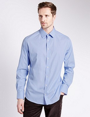 Pure Cotton Tailored Fit Shirt with Contrast Trim, BLUE, catlanding