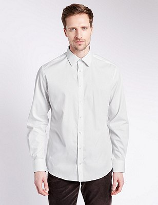 Pure Cotton Tailored Fit Shirt with Contrast Trim, WHITE, catlanding