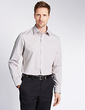 Pure Cotton Tailored Fit Fine Striped Shirt, PLUM, catlanding
