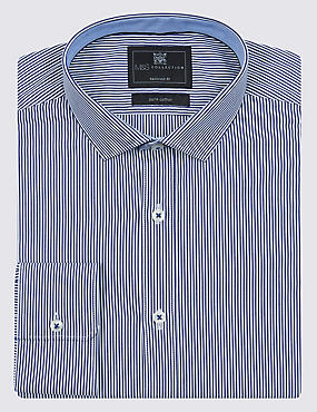Pure Cotton Tailored Fit Contemporary Contrast Bengal Striped Shirt, NAVY, catlanding