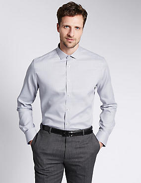 Pure Cotton Easy to Iron Tailored Fit Shirt, GREY MIX, catlanding