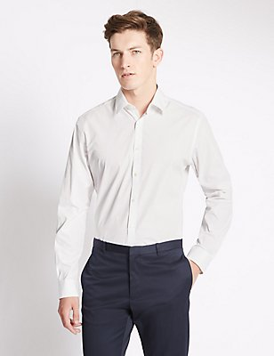Pure Cotton Tailored Fit Printed Shirt, WHITE/WHITE, catlanding