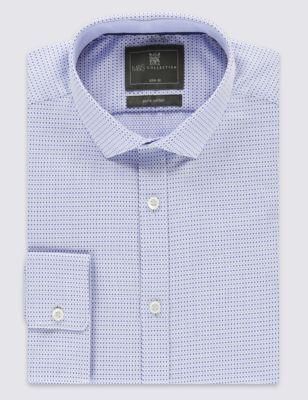 Приталенная рубашка из чистого хлопка добби с поп-принтом M&S Collection T111330S