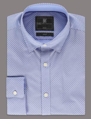 Приталенная рубашка слим из хлопка шамбре