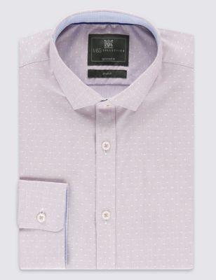 Приталенная рубашка Easy to Iron из хлопка добби в полоску и горошек