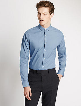 Tailored Fit Easy to Iron Shirt, AIR FORCE BLUE, catlanding
