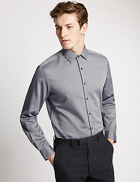 Pure Cotton Tailored Fit Long Sleeve Shirt, DARK BLUE, catlanding