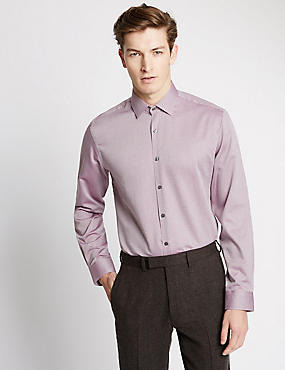 Pure Cotton Tailored Fit Long Sleeve Shirt, RUM, catlanding