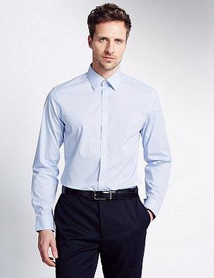 Cotton Rich Slim Fit Geometric Print Textured Shirt, BLUE, catlanding
