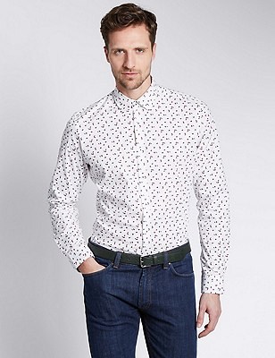 Cotton Rich Slim Fit Brush Print Stretch Shirt, PLUM MIX, catlanding