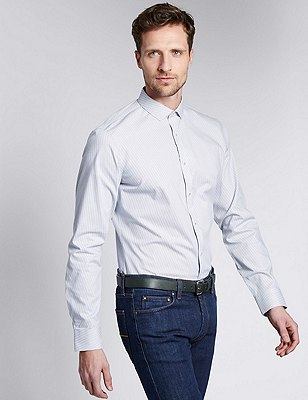Cotton Rich Slim Fit Broken Striped Shirt, NAVY, catlanding