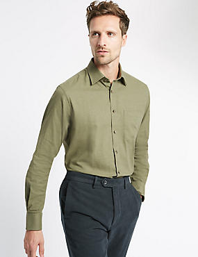 Pure Cotton Long Sleeve Shirt with Pocket, GREEN MIX, catlanding