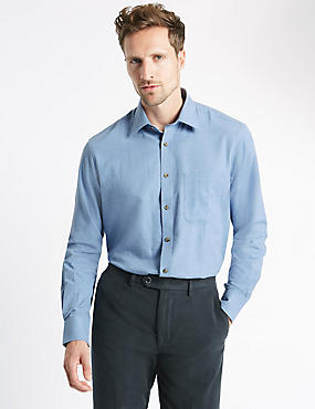Pure Cotton Long Sleeve Shirt with Pocket, MID BLUE, catlanding