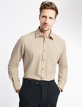 Pure Cotton Long Sleeve Shirt with Pocket, STONE, catlanding
