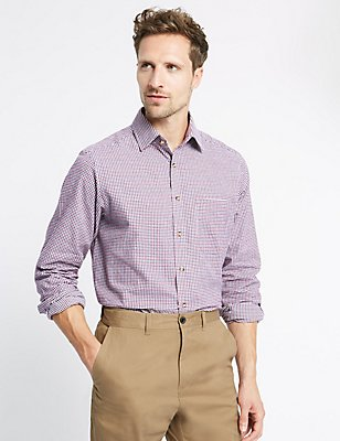 Pure Cotton Regular Fit Checked Shirt, WINE MIX, catlanding