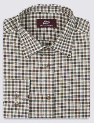 Рубашка с полотняным плетением из чистого хлопка