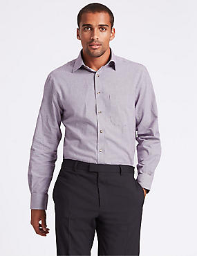Pure Cotton Regular Fit Shirt with Pocket, DARK RED MIX, catlanding