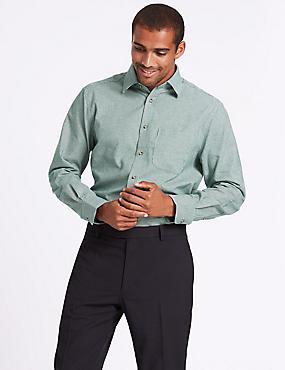 Pure Cotton Regular Fit Shirt with Pocket, DARK GREEN MIX, catlanding