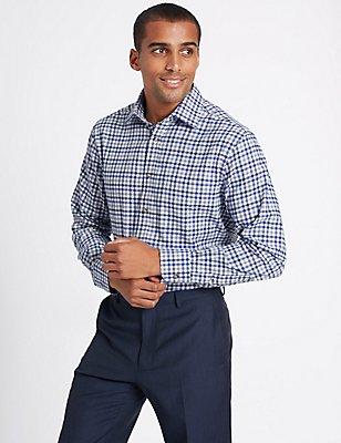 Pure Cotton Regular Fit Shirt with Pocket, GREY MIX, catlanding