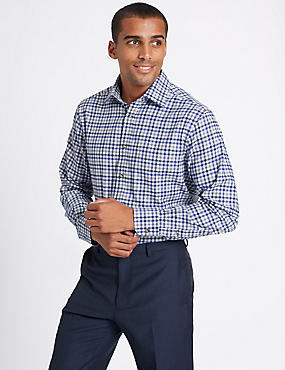 Pure Cotton Regular Fit Shirt with Pocket, GREY MIX, catlanding