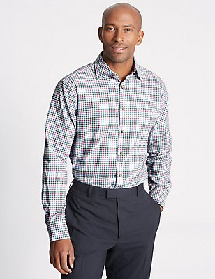 Pure Cotton Regular Fit Shirt with Pocket, MAGENTA MIX, catlanding
