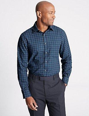 Pure Cotton Regular Fit Shirt with Pocket, NAVY MIX, catlanding