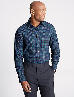 Pure Cotton Regular Fit Shirt with Pocket, NAVY MIX, catlanding