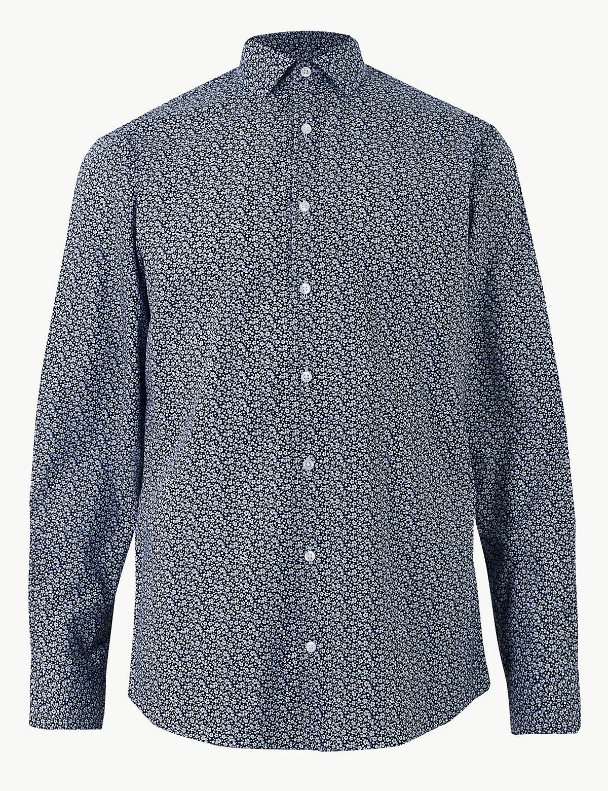 Рубашка мужская в цветочек с добавлением хлопка