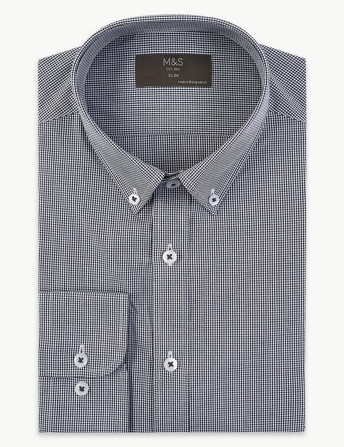 Облегающая хлопковая рубашка с технологией Easy to Iron