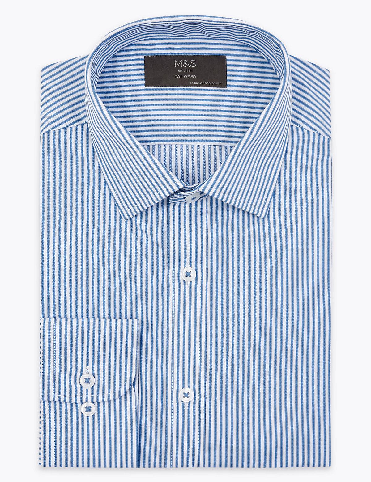Мужская рубашка в полоску с отделкой Easy Iron