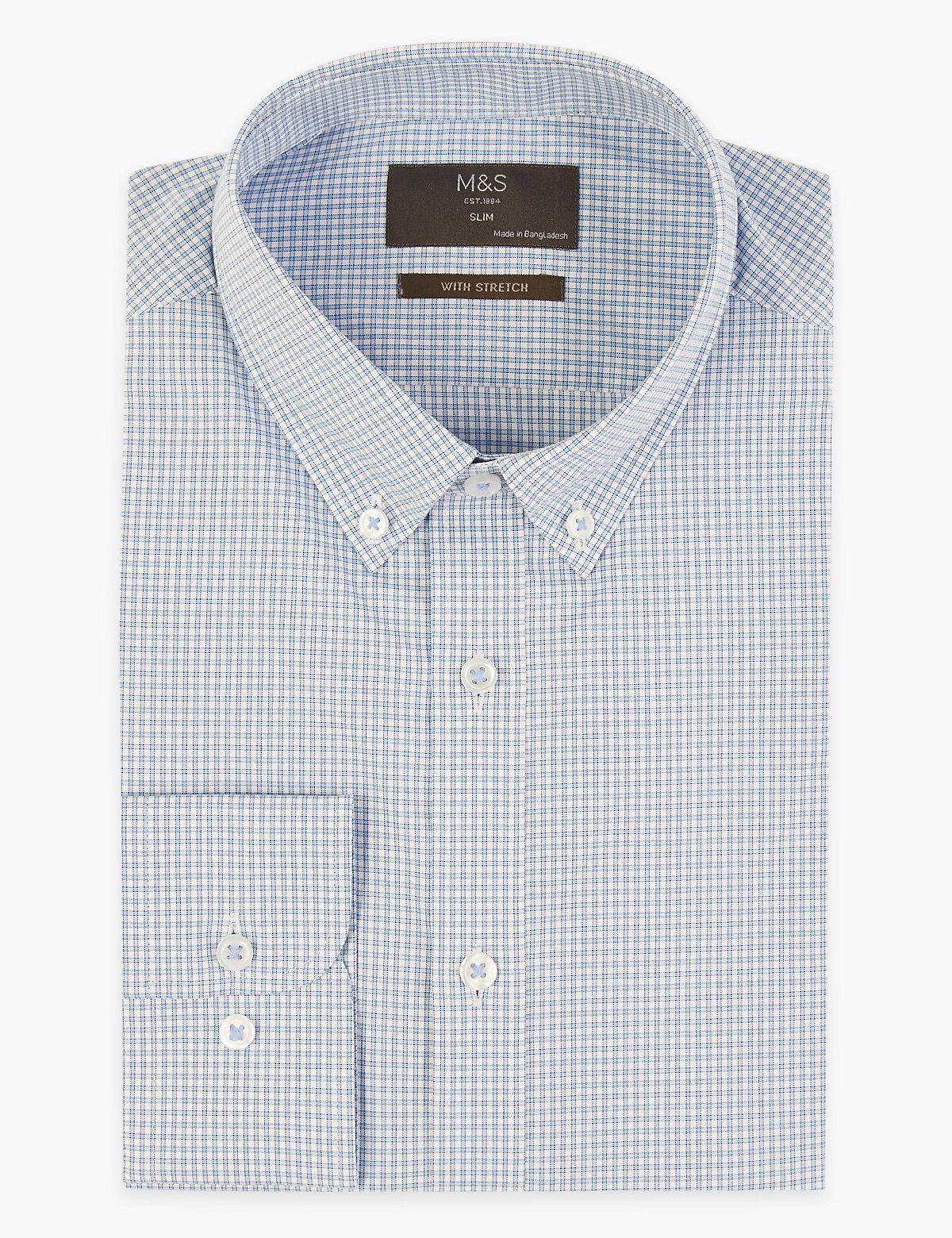 Хлопковая приталенная рубашка в клетку