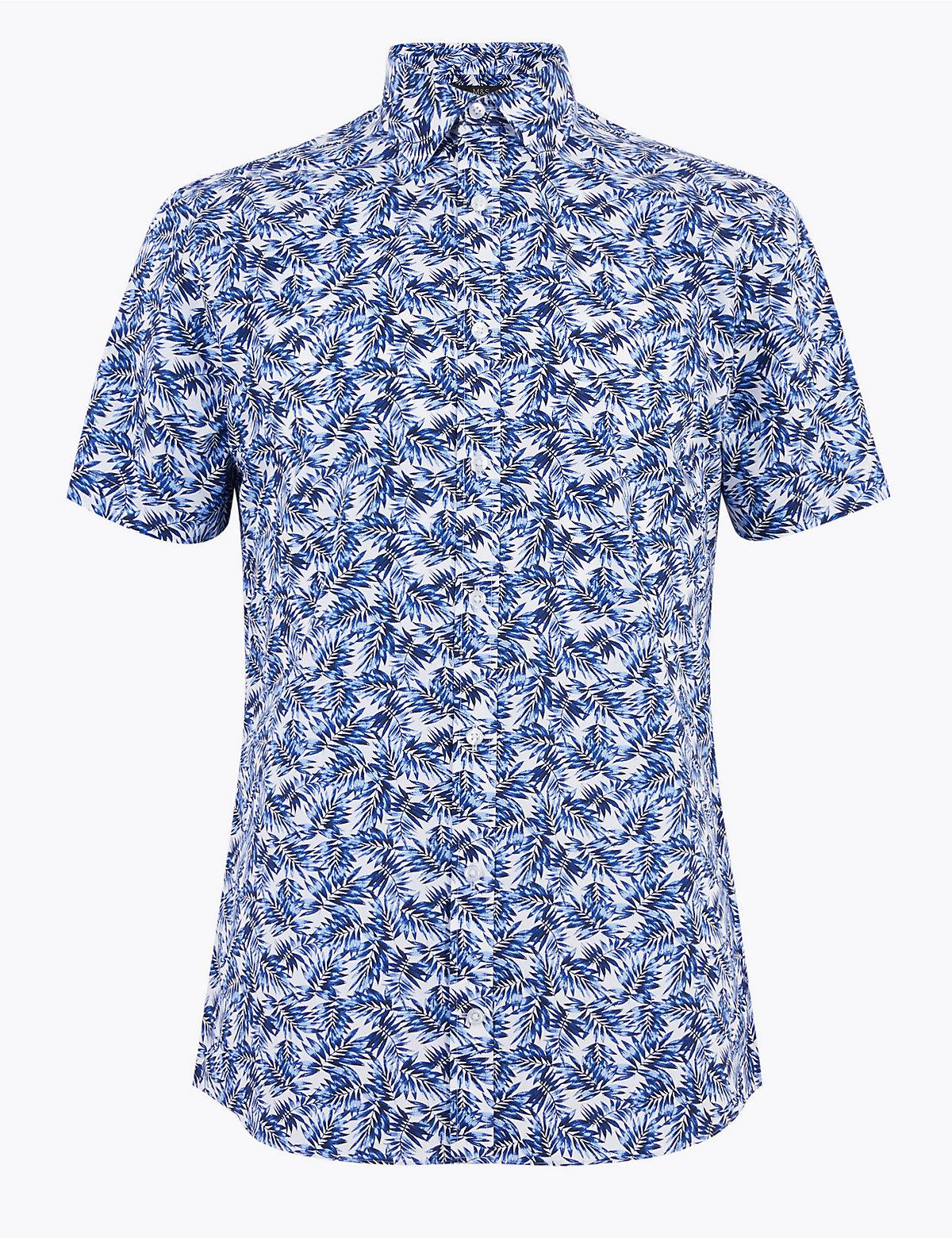 Узкая мужская рубашка с принтом