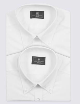 Однотонная рубашка Easy Care с длинным рукавом (2 шт) M&S Collection T112219W