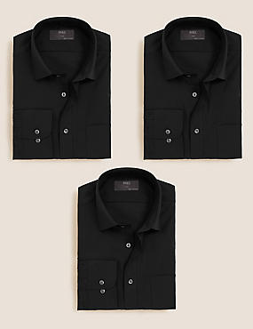 3 Pack Cotton Blend Easy to Iron Shirts, BLACK, catlanding