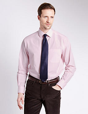 2 Pack Easy to Iron Plain & Striped Shirts with Tie