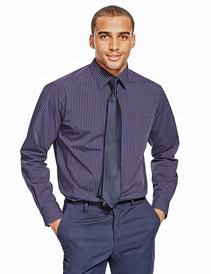 2 Pack Easy to Iron Long Sleeve Assorted Shirts with Tie, PLUM MIX, catlanding