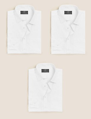 3 Pack Easy to Iron Tailored Fit Shirts, WHITE, catlanding