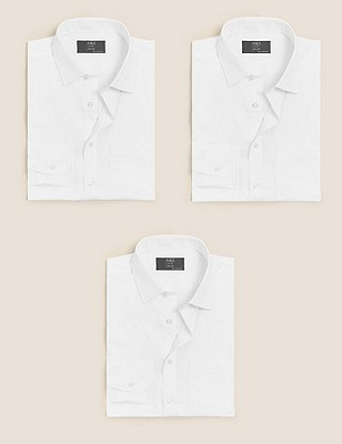 3 Pack Easy Care Tailored Fit Shirts, WHITE, catlanding