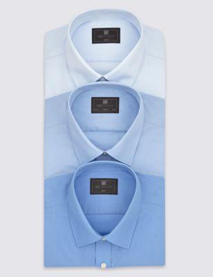 Однотонная формальная рубашка Easy to Iron с удлинённым рукавом (3 шт) M&S Collection T112311L