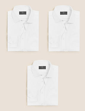 3 Pack Easy to Iron Modern Slim Fit Shirts, WHITE, catlanding