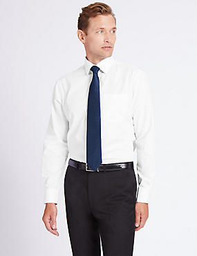 Cotton Blend Easy to Iron Shirt with Tie, WHITE, catlanding