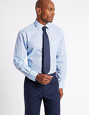 Easy to Iron Regular Fit Shirt with Tie, BLUE MIX, catlanding