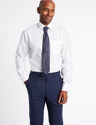 Easy to Iron Regular Fit Shirt with Tie, WHITE MIX, catlanding